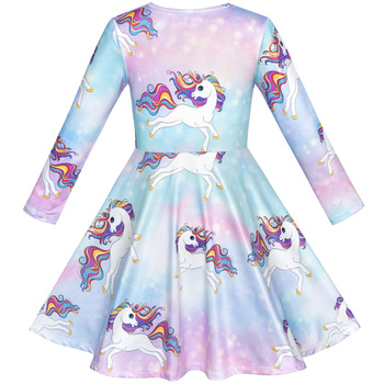Unicorn Rainbow Long Sleeve Princess Dresses