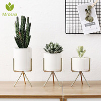 3pcs/set Ceramic Flower Pots Flower Planters with Iron Shelf Succulent Plant Pot Home Garden Decorative Flower Vase