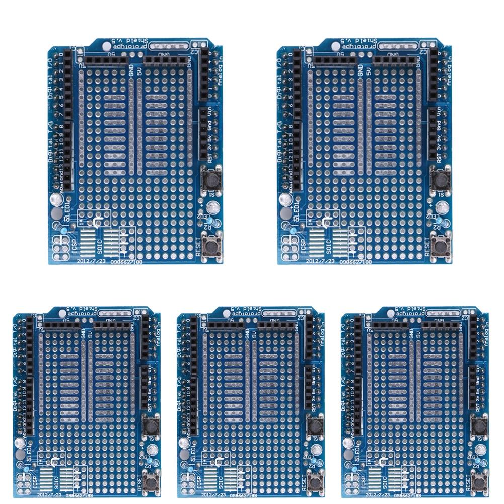 5Pcs Brand New Prototype Shield Protoshield V3 Expansion Board With Mini Bread Board For Arduino MEGA + White Breadboard