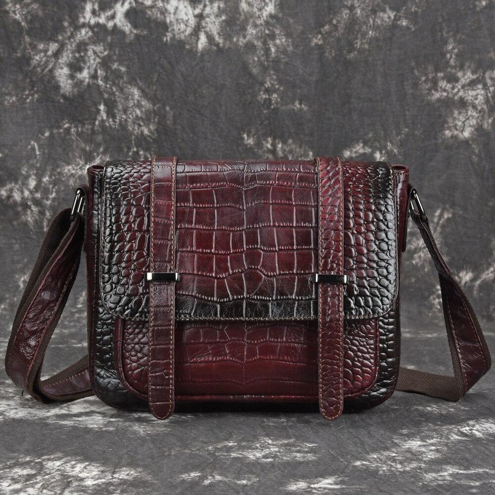 Kobiet prawdziwa skóra bydlęca Messenger torby na ramię wzór krokodyla Retro trendu wypoczynek wysokiej jakości prawdziwej skórzana torebka na ramię torba nowy w Torebki na ramię od Bagaże i torby na  Grupa 1