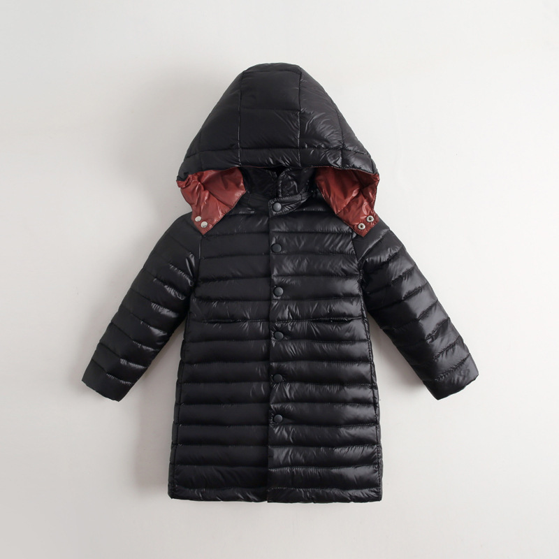 New Winter Kids Down Coat with Hood Solid Black Warm Design Wind Proof Duck Lightweight Long Down Jacket for Boy Girl Down Parka цены онлайн