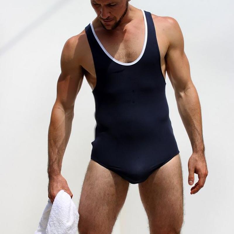 AIIOU degli uomini Modali di Lotta Forte Tuta Body Wrestling Canottiere Gay Tuta Body Costume Tute e Salopette Biancheria Intima Maglietta intimo
