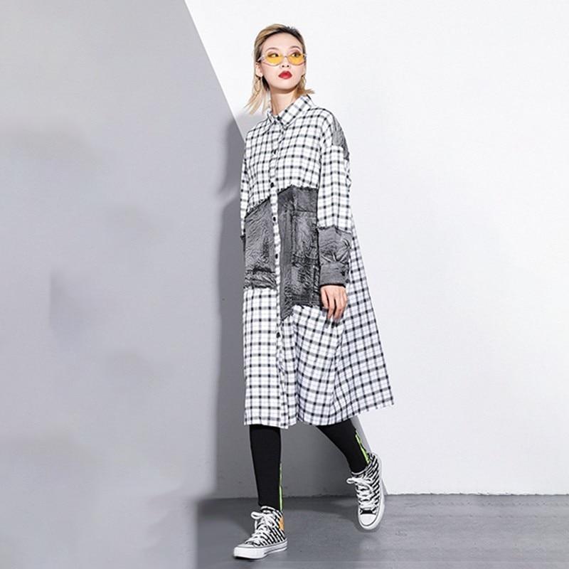 Denim Chicever Blouse Spring Loose Hit New Button Fashion Pockets Collar Patchwork White Shirt Colot 2019 Women Plaid Long Square qS5CS6xA