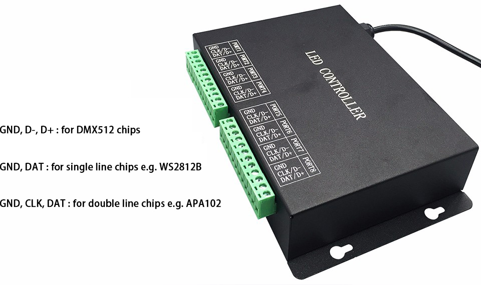 Programmable bande contrôleur, DMX512 contrôleur, soutien WS2811, WS2812, APA102, DMX512, etc. logiciel libre, haute fiabilité