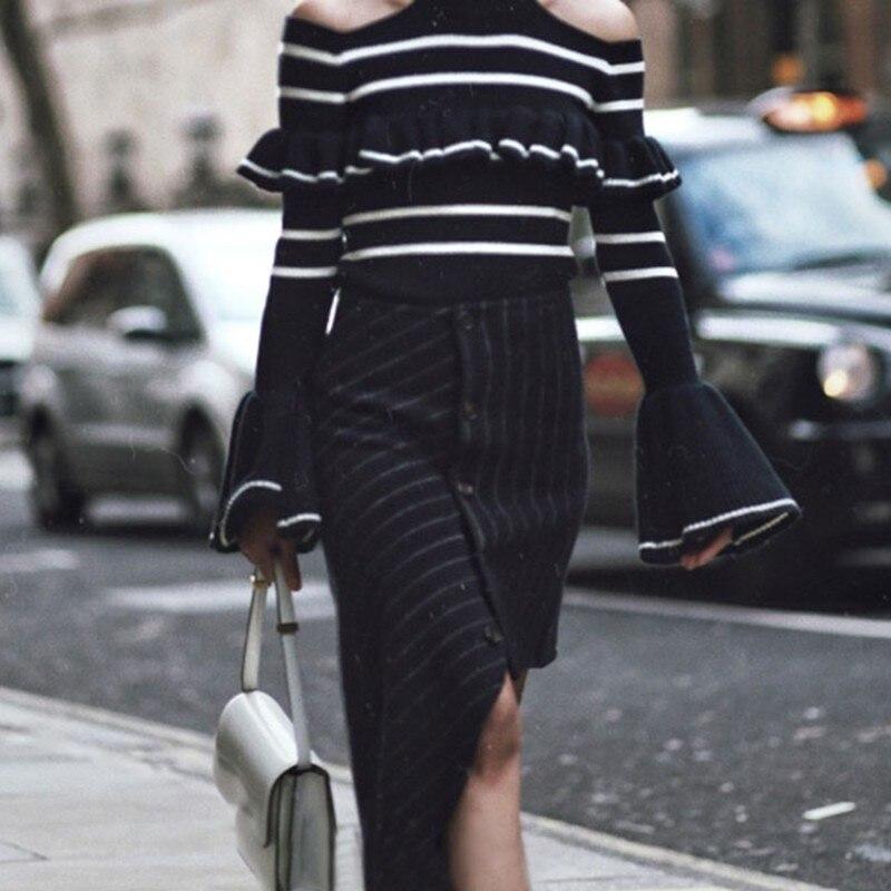 Kadın Giyim'ten Etekler'de TWOTWINSTYLE Asimetrik Çizgili Yün Etekler Kadın Yüksek Bel Düzensiz Siyah kadın Etek 2019 Sonbahar Moda Giyim Yeni'da  Grup 3
