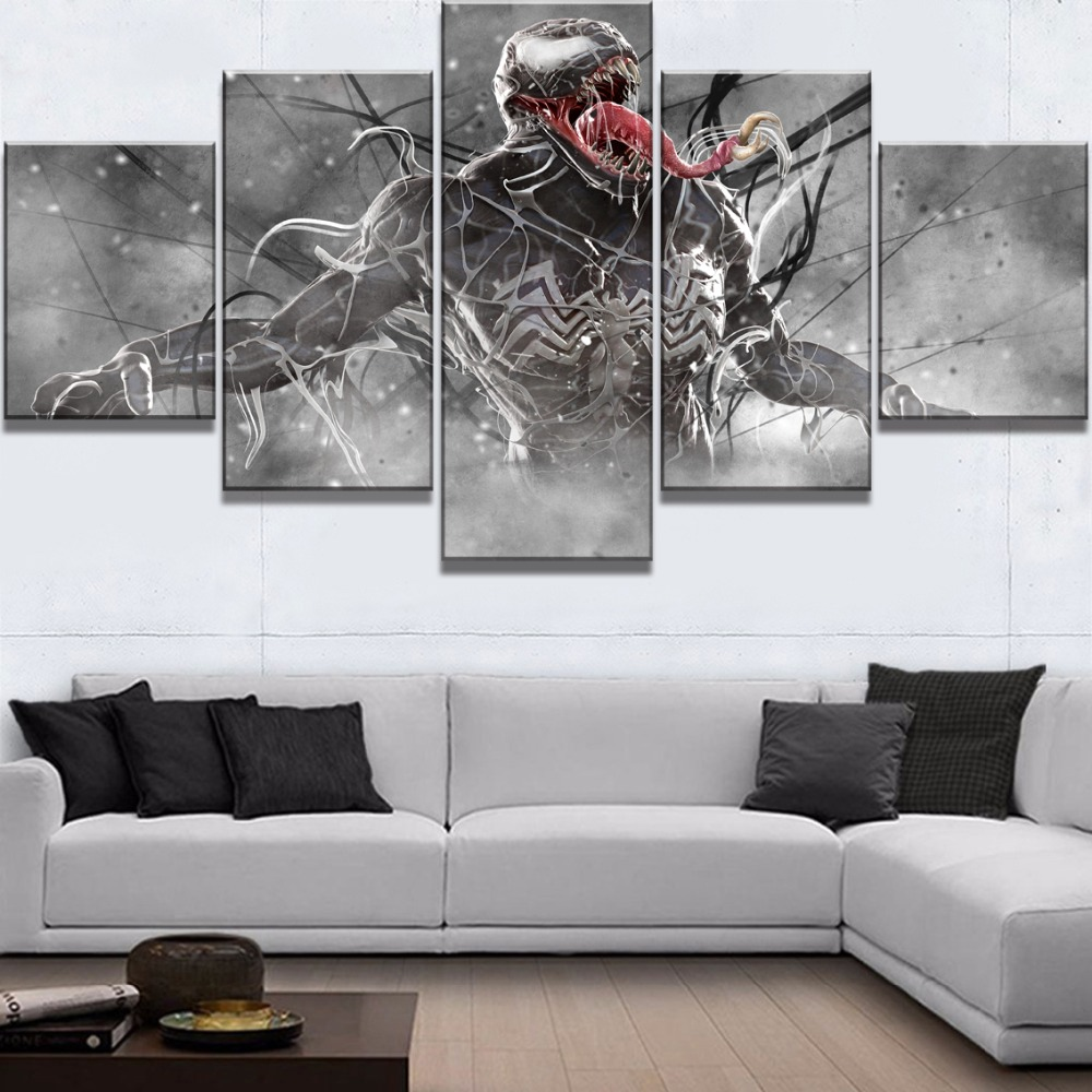 Wall Art Poster Home Decoration Modern 5 Panel Venom Marvel Comics Living Room Canvas HD Print Modular Painting Pictures Artwork in Painting Calligraphy from Home Garden