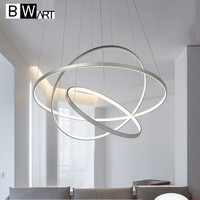 BWART modern led chandelier lighting for living room bedroom dining room aluminum LED ring chandelier lamp circle fixture