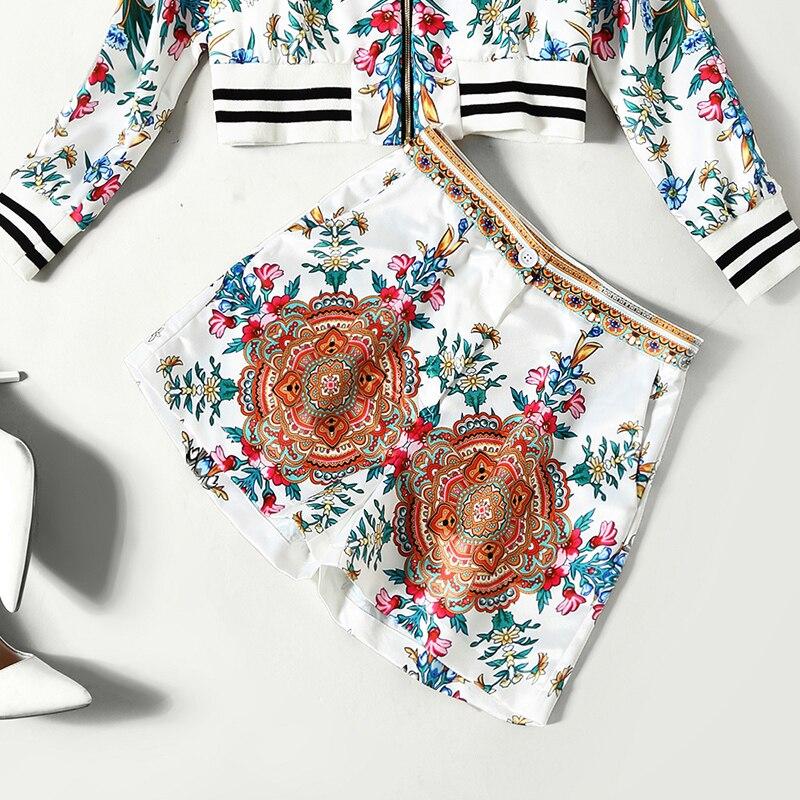 De Minces Baseball Femmes Lvydala Pantalon Imprimé Europe Shorts 2 Blanc Ensemble Veste Amérique Et Pièces Manches Longues En Floral Rétro xqxIP4Bw