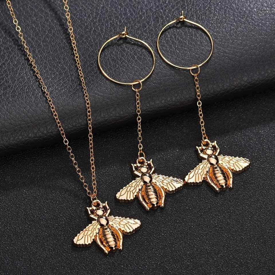 Women Cute Bee Pendant Trendy Necklace Handmade Fashion Personality Necklace Trendy Wedding Jewelry Pendant Necklace Gold Color