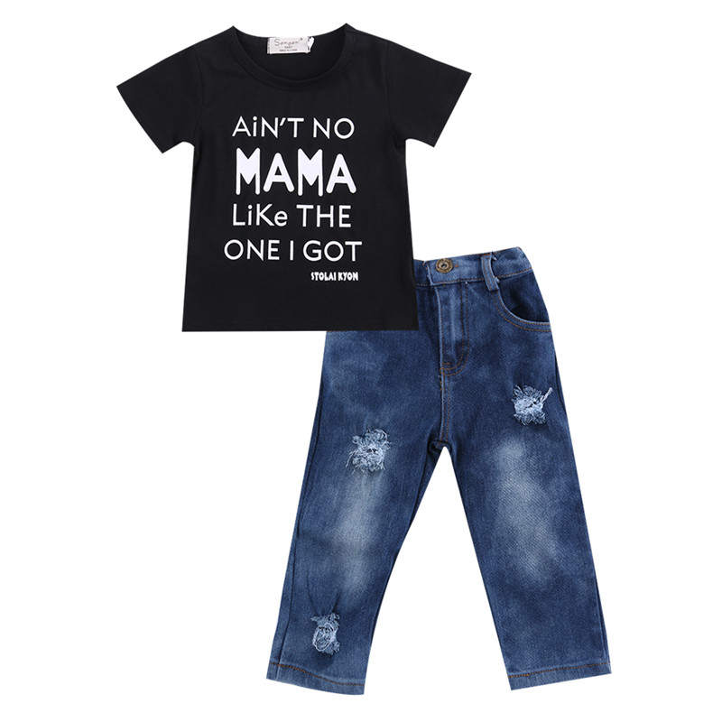 <font><b>Baby</b></font> Girls Clothes <font><b>Set</b></font> 2pc/<font><b>Set</b></font> Black Short Sleeves <font><b>Tshirt</b></font> Letter T-Shirt Tops Blue Jeans Long Cowboys Pants New Born <font><b>Baby</b></font> Outfit image