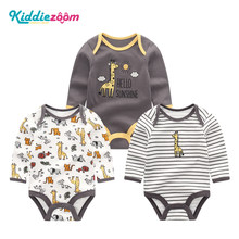Girls Clothes Newborn Unicorn Baby Boy Clothes Bodysuit Cotton Baby Girl Clothes 0-12M Girls Baby Sets BabyWear Jumpsuits 3Pcs(China)