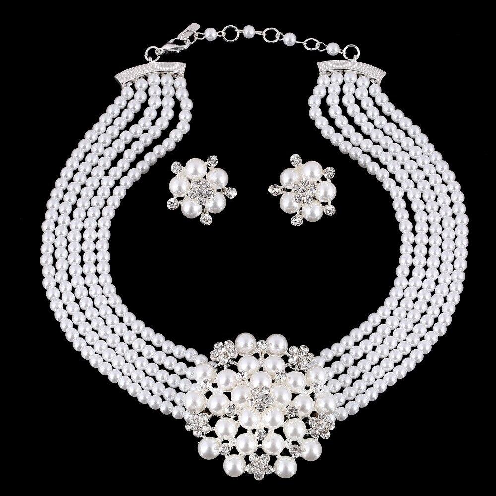 Nouvelle mode Bijoux de mariage ensembles multi-couche Imitation perle chaîne grande fleur mariée collier femmes déclaration collier Bijoux