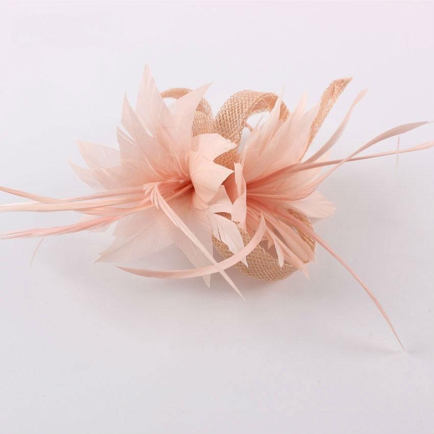 Women Chic Fascinator Hat Cocktail Brooch Wedding Headpiece Church Headwear Party Feather Hair Accessories Sinamay Fascinators
