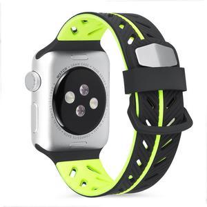 Image 4 - Silikon Glatte Armband Armband 42 MM Zwei Farbe Mode Ersatz Bunte Sport Weichen Bequemen Handgelenk Band Für IWatch Serie