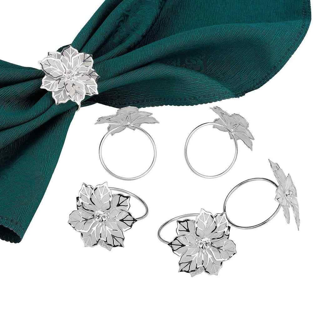 3pcs Gouden Zilveren Hollow Out Flower Servetringen voor Bruiloft Recepties Geschenken Vakantie Banket Diner Kerst Clubs Thuis