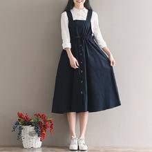 2019 Spring Summer Women Sleeveless Vintage Dress Navy Blue Cotton Linen Casual Loose Vestidos Spaghetti Strap Female 2XL