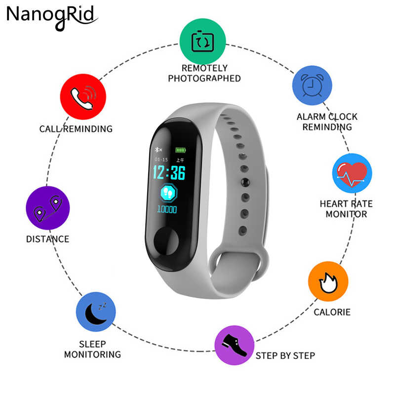 Цветной экран Смарт браслет 0 96 inchActivity трекер часы для мужчин и женщин монитор