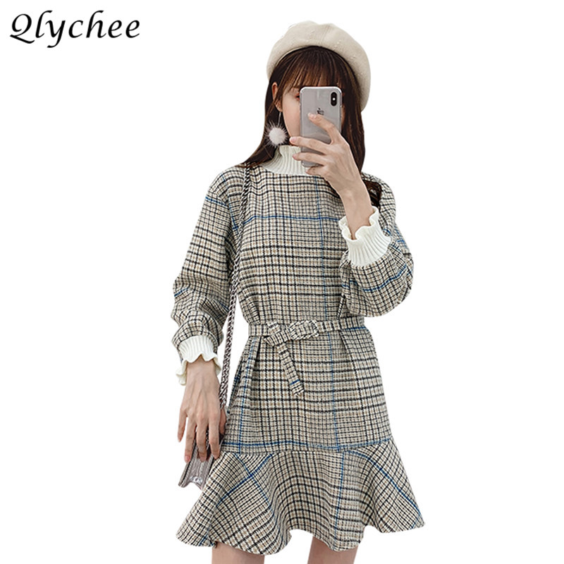 Qlychee Plaid Dresses Female Long Sleeve Turtleneck Fake Two Pieces Mini Dresses Spring Autumn Sweet Women Dresses