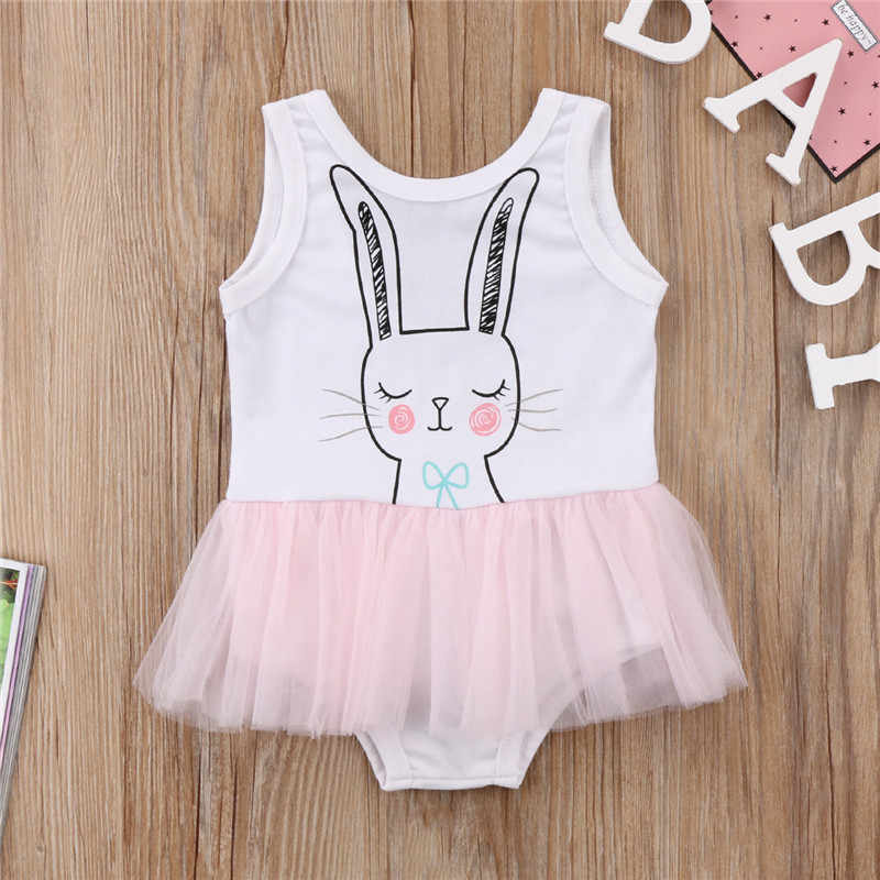 fc986b2bc ... 1-6Years Kids Baby Girls Easter Bunny Dress Girl Sleeveless Vest Dress  Party Pageant Tulle ...