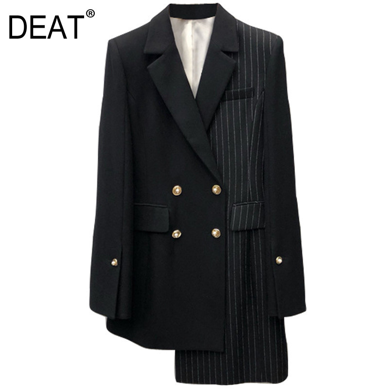 DEAT 2019 New Fashion Striped Patchwork Office Style Blazers Female s Long Sleeve Irregular Double Breasted