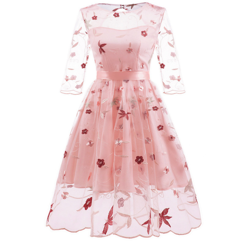 MUXU pink vintage transparent backless floral embroidery dress vestidos kleider fashion frocks clothing jumper elegant