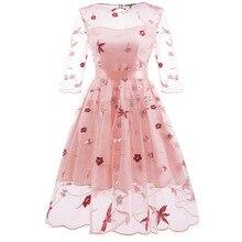 MUXU pink vintage transparent backless floral embroidery dress vestidos kleider fashion frocks clothing jumper elegant