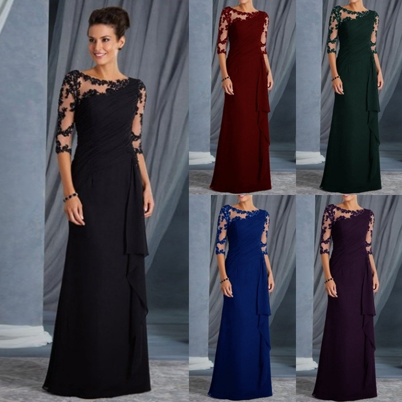 Evening Dresses Long 2019 Elegant A-line Lace Half Sleeve Vestidos De Fiesta De Noche Sexy Plus Size Burgundy Formal Party Gowns(China)