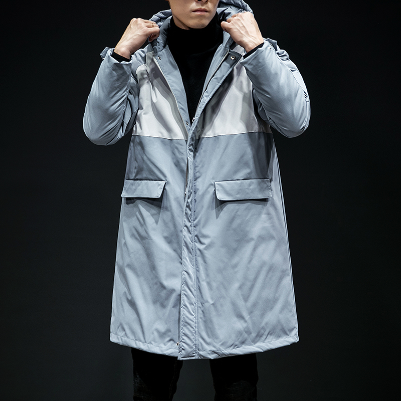2018 зимняя длинная шапка с хлопковой подкладкой, одежда в Корейском стиле, утолщенные большие размеры, для мужчин, повседневное Свободное па... - 4
