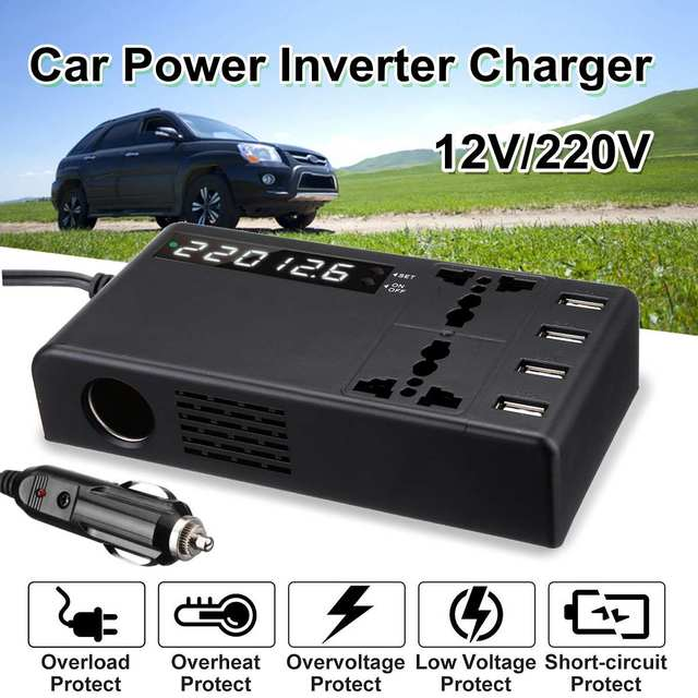 12V To 220V Power Inverter LCD Display W/ 2 Universal Sockets & 4 USB Charging Ports