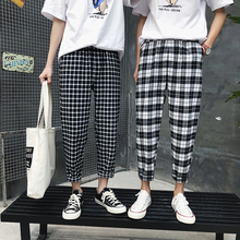 Mens Trousers 19 New Plaid Casual Pants Hong Kong Couples Nine Points Personality Slim Clothing