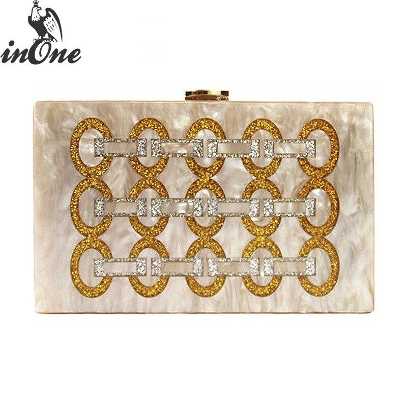 INONE boucle d'or paillettes brillant soirée sac à main acrylique boîte d'embrayage sacs pour femmes 2019 Designer chaîne bandoulière sac à main sac à main