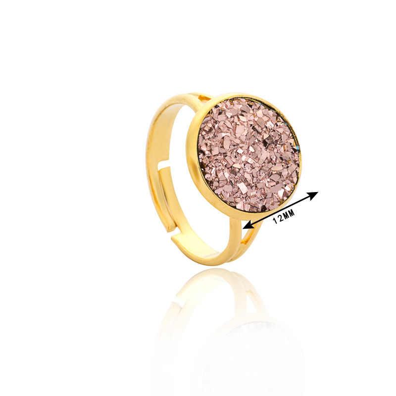 5 Colors Resin Drusy Druzy Nhẫn Giả Pha Lê Đá Vàng Màu Sắc Nhẫn Có Thể Điều Chỉnh Hiệu Đồ Trang Sức cho Phụ Nữ