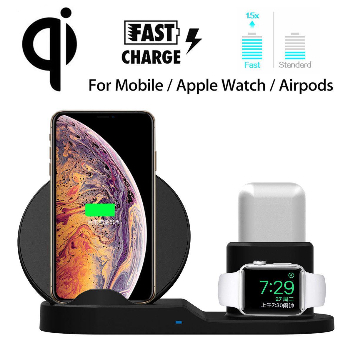 10W Fast Qi Wireless Charger Pad for Apple Watch 1 2 3 4 Wireless Charging Dock For iPhone XR XS For Samsung S9 S10e For AirPods