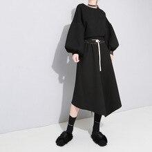 spring and autumn new arrival overknee length skirts big swing irregular pendulum elastic waist slim feminino 483