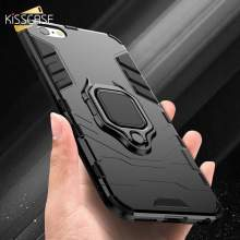 KISSCASE Shockproof Armor Cases For iPhone 6 6S 7 8 Plus XS Case X 5 5S Se Xs Max XR Finger Ring Holder Funda