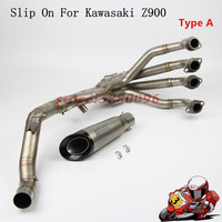 Exhaust Full System Tube For Kawasaki Z900 Motorcycle Slip On Exhaust Pipe Muffler With Exhaust Muffler AK209 Carbon Fiber
