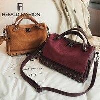 Herald Fashion большая качественная кожаная женская сумка новый Для женщин сумки с верхней ручкой, с заклепками; женская обувь Винтаж «тоут» мотоц...