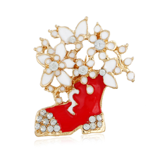 Christmas Boots Gold Color Brooches Men's Red White Rhinestone Boots Brooches for Woman Fashion Xmas Jewelry Brooch for Female(China)
