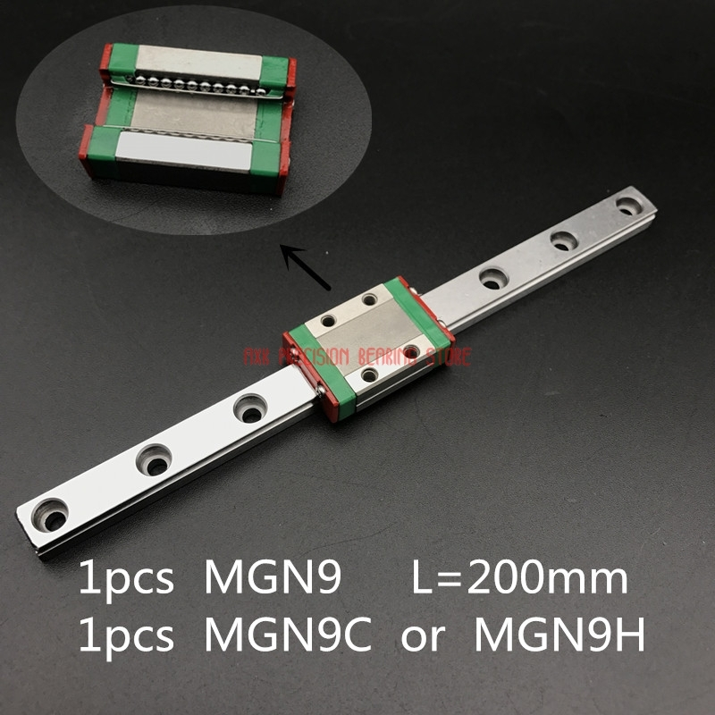 AXK Linear Rail Cnc Router Parts 9mm Linear Guide Mgn9 L= 200mm Rail Way + Mgn9c Or Mgn9h Long Carriage For Cnc X Y Z Axis