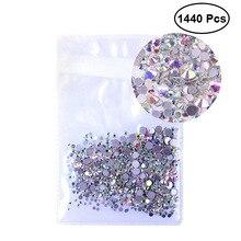 1440 шт 1,3 мм хрустальные AB круглые Стразы для ногтей смешанные плоские 3D украшения для ногтей SS3AB