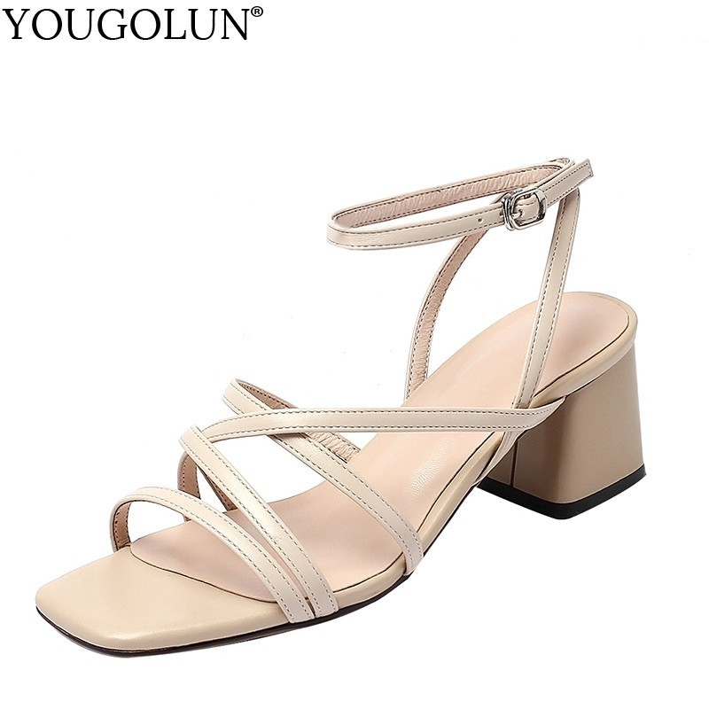 Women Shoes New Cross Strappy Sandals Genuine Leather Elegant Lady Summer Open Toe Casual Woman Beige