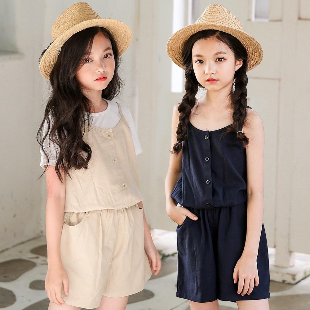 7796eb2da737 Teenage Kids Girls Overalls Cotton Linen Summer Spring Girls Jumpsuits  Rompers 2019 Toddler Shorts Khaki Blue