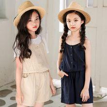 56686c6bb47 Teenage Kids Girls Overalls Cotton Linen Summer Spring Girls Jumpsuit  Rompers 2019 Toddler Shorts Khaki Blue