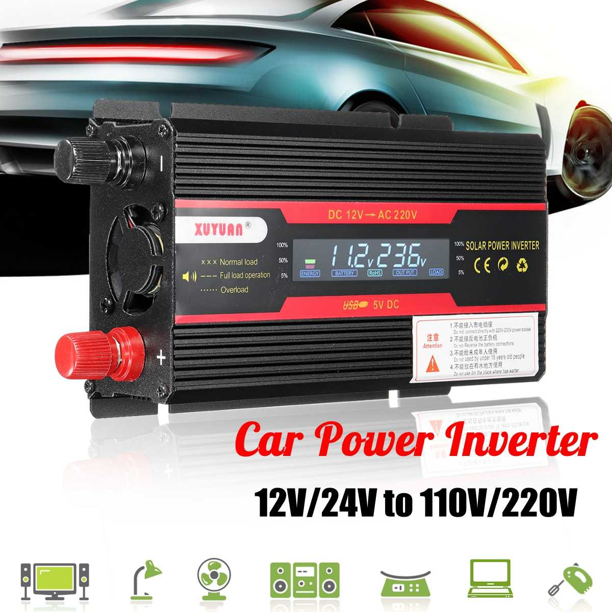 Car <font><b>Inverter</b></font> <font><b>12V</b></font> 220V <font><b>3000W</b></font> Power <font><b>Inverter</b></font> Voltage Convertor Transformer <font><b>12V</b></font>/24V To 110V/220V Inversor + LCD Display image