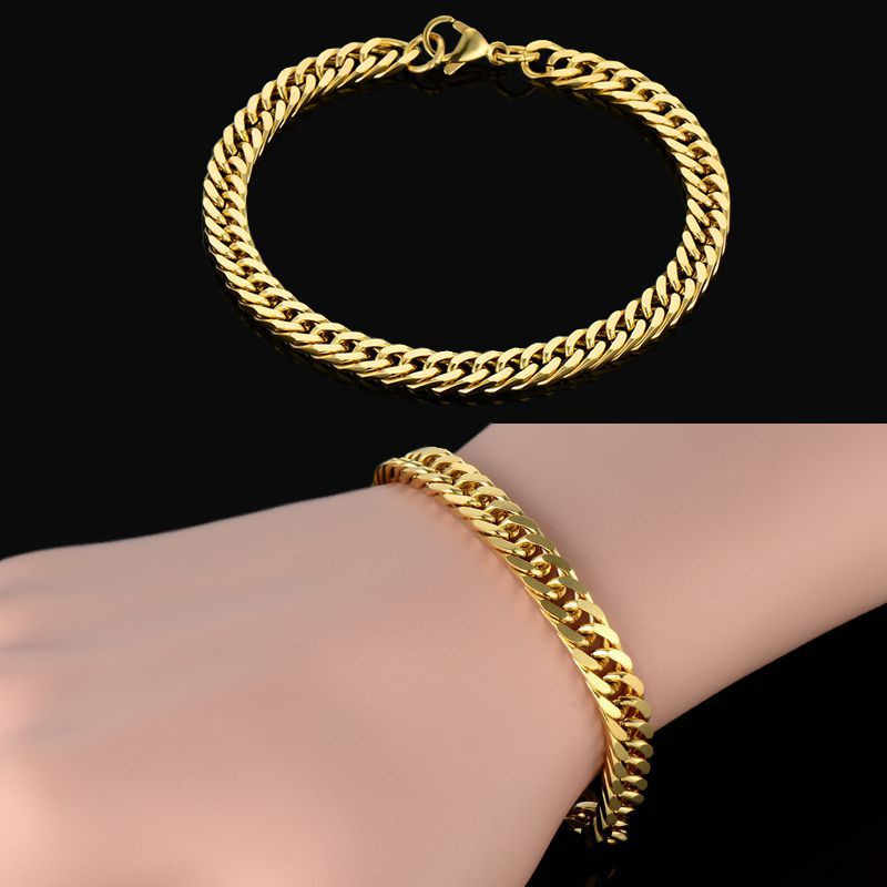 Vintage Thick Chain Link Bracelet Men Jewelry Bijoux Gold Color One Direction Link Male Bracelets Wholesale Pulseras