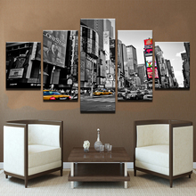 Modern Canvas HD Prints Pictures For Living Room Wall Art Framework 5 Piece Bustling City Streetscape Painting Home Decor Poster 2pic set paris city landmarks and cars modern painting hd prints on canvas wall art for living room canvas printings home decor