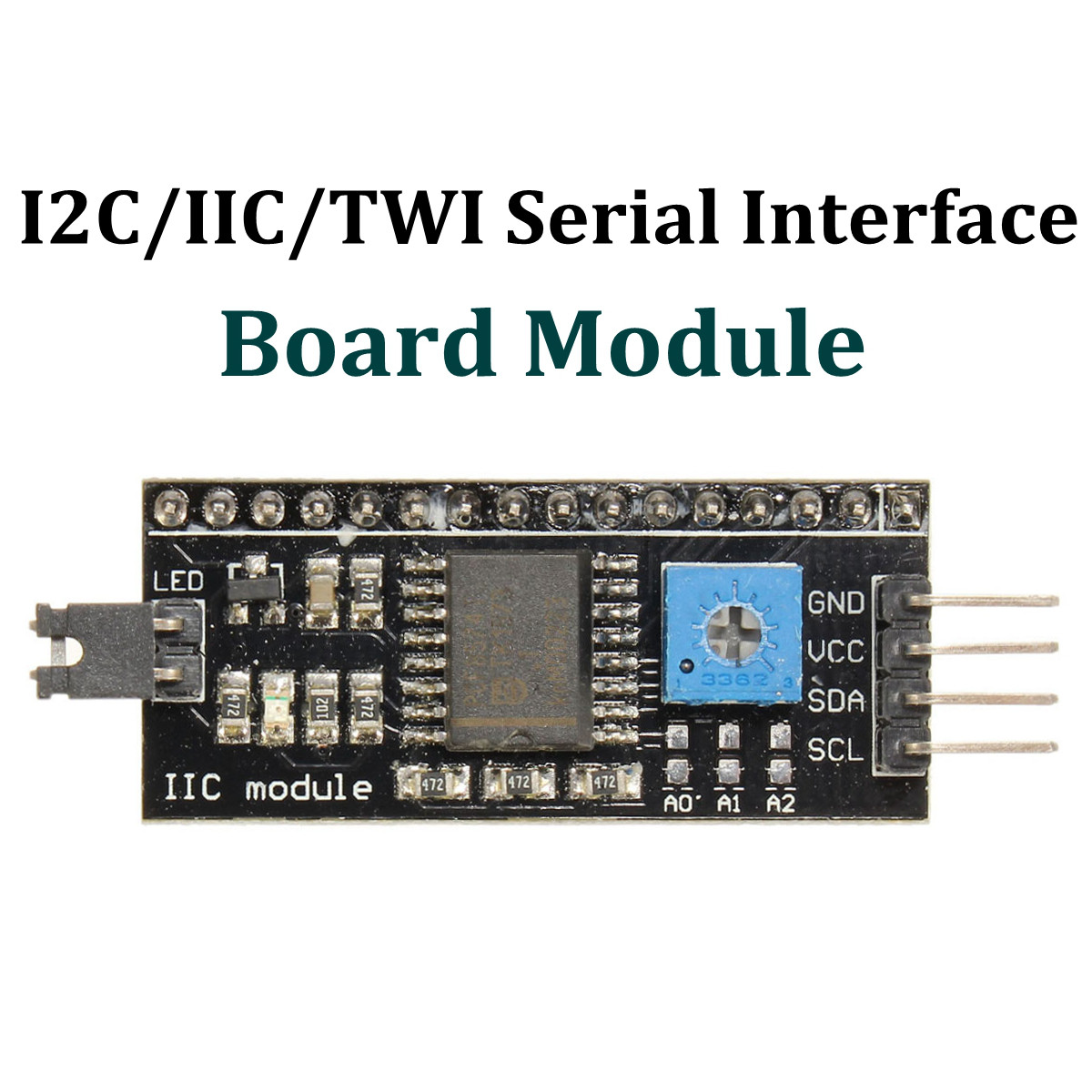New Arrival I2C/IIC/TWI Serial Interface Board Module for Arduino R3 LCD 1602 Display 54x19 mm 5V Hot Sale