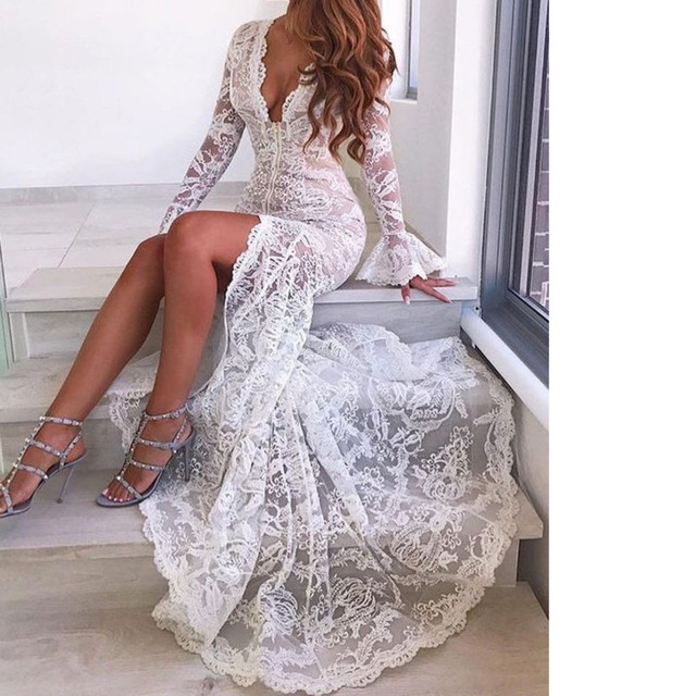 baed6de2eb US $28.38 35% OFF|MUXU white lace long dresses frocks woman dress elegant  evening robe longue femme party sexy transparent long sleeve vestidos-in ...