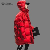 Winter Jacket Women Coats 2018 Bright Red Hooded Parka Female Casual Puffer Jackets Plus Size Korean Thick Cotton Outwear OKD649
