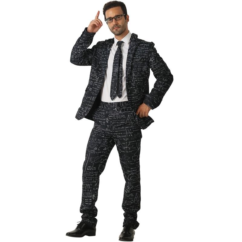 Adulte noir mathématiques formule hommes de premier cycle Style prétendant fantaisie Costume fou Costume Halloween - 4